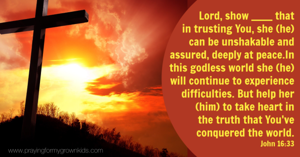 Lord, show _______ that in trusting You, she (he) can be unshakable and assured, deeply at peace. In this godless world she (he) will continue to experience difficulties. But help her (him) to take heart in the truth that You've conquered the world. John 16:33